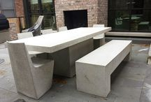 Lightweight Concrete Table | Slab Collection / Fiberglass with a mix of crushed stone creating the lightest cement furniture available. Includes various site installations of the Slab Collection.