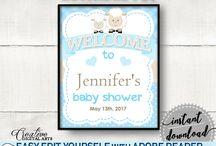 Baby Shower Products in Blue Lamb Theme, Invitations, Games, Decorations And More / Hi, thank you for visiting this beautiful baby shower board with products in Blue Lamb theme. Here, you'll find invitations, games and activities, decorations and more with over 60 products in this theme.