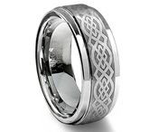Celtic Tungsten Rings / Due to the extreme strength of tungsten carbide the only way to create tungsten rings with intricate patterns and designs is through laser engraving. The beauty of tungsten laser engraved rings is the patterns will not fade or wear over time. Some of our most popular laser engraved rings include Celtic, cross, and LOTR tungsten rings.