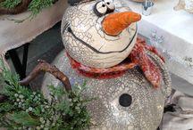 Sneeuwpop gestookt raku