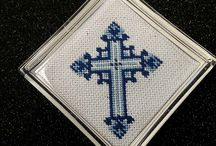 """Light Backgrounds / This is a series of Lee 3"""" round crosses I reshaped into squares and made into coasters for Speaker's  gifts for the Catholic Marin Breakfast Club. They meet the first Friday of every month at St. Sebastian's Church."""