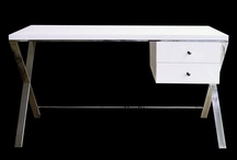 Valencia White Lacquer Wood Stainless Steel Legs Desk