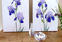 Iris Flower Stencils / Henny Donovan Motif Iris Flower Stencils - Iris Stencil 1, Iris Stencil 2, Iris Stencils 1 & 2 and Little Iris Stencil