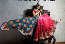Glamorous Saree Collection / At lifestyleMegamart.com one can get a wide range of sarees that are suitable for every occasion and one can attend parties or go to a formal meeting or any other casual place. All the sarees available in here are of high quality fabrics like art silk, Brasso, chanderi, chiffon, satin and crepe.