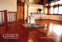 Antique River-Recovered® Select Heart Pine Wood Flooring / Highly popular, this is the beautiful, durable wood that built America. Consider that the heart pine in Washington's Mount Vernon home and Jefferson's Monticello home is more than 250 years old, yet is in top condition and walked on every day. Goodwin antique heart pine is guaranteed to be at least 200 to 500 years old, which means it is 100% heart wood and has the highest level of hardness and durability.