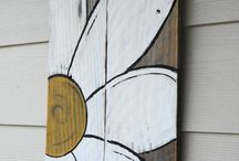 painted offcut wood