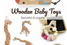 Wooden Baby Toys / Selection of the most beautiful organic wooden baby toys. They have a pleasant texture to hold, rotate, spin and swivel them or gnaw on for teething.