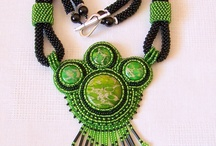 Beaded cabochon necklaces