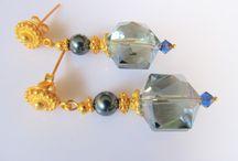 Oorbellen Goud / Sieraden goud op zilver met edelsteen-glas en/of parels