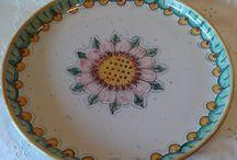 Antipastiera in maiolica dipinta a mano,Vassoio + 6 ciotole.,