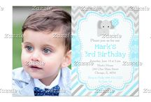 Blue and Gray Damask Elephant Birthday / This collection features a cute gray elephant with a balloon. The background consists of a blue damask pattern, gray polka dots and gray chevrons.