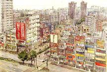 Taiwan. Linkou. Urban sketch