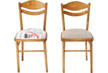 Krzesło PRL, model 7556 newspapper / Krzesło PRL model 7556. Wyprodukowane w Starachowickich Zakładach Przemysłu Drzewnego w Radomsku, lata 60-70. Po całkowitej rewitalizacji.