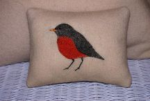 Pillows / One of a kind pillows created from recycled wool blankets and sweaters. Each design is hand embroidered.