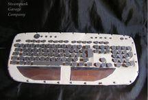 Wings of Horus / my handmade leather-steel-aluminium steampunk keyboard