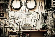 Bike Shop Inspiration / Tools, workshop interior, grease, displays and craft