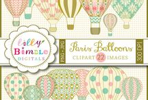 Hot Air Balloon Graphics / For wedding table cards