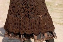 Knitted or crocheted skirt