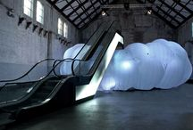trust the cloud inflatable / After taking an escalator up several meters, visitors are invited to jump into an inflatable cloud of light. The jump, which will be photographed and uploaded to 'the cloud', can be seen for a brief amount of time before disappearing, much like the act itself. With the project, Phanta Visual hopes to make the abstract 'cloud' tangible, even if just for a moment. The artwork can be experienced and enjoyed by all. Trust the Cloud