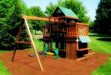 Wood outdoor playsets