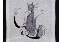Broderie Chats / Broderie point de croix sur le thème des chats / by Univers Broderie