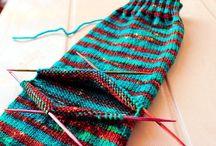 Knitted socks, gloves, beanies