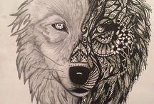 Diseño del tatuaje de lobo