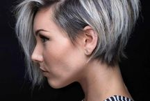 silver grey long pixie cuts