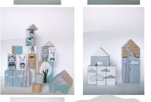 """TOYS woodblocks """"WINTER WOOD"""" turquoise / hand painted woodblocks 22 pieces"""