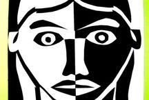 hlava - malba, mozaika