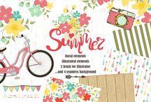 Graphic design elements / Clipart, illustrations, backgrounds, textures.