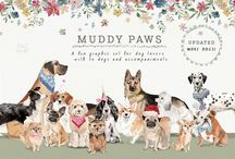 Muddy Paws / Muddy Paws watercolour design graphics