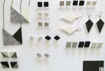 Plastic Minimalist Collection / My handmade jewelry in geometric shapes and three colors: white, grey and black..