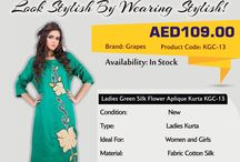 Ladies Green Silk Flower Aplique Kurta / Buy all types of Ladies Kurtis and Salwar Kameez online at Women Fashion | BusinessArcade.com UAE. we provide quality products at a best price.
