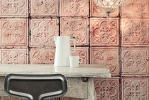 WALLPAER- decontructed / Wallpapers that look like tiles or a concrete wall, but with the easy of just using wallpaper.