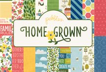 Home Grown Collection / Experience the joys of home and happy outdoor memories with Pebbles' newest collection, Home Grown. Soak up the organic color palette of sunflower yellow, cherry red and deep chestnut with accents of sweet spring pastels. Enjoy the happiness of home and family with hand-drawn icons of sweet birds, busy bees & butterflies and sprightly garden gnomes. / by Pebbles Inc.