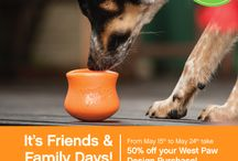 50% OFF during Friends and Family Days 2015 / 50% off everything West Paw Design toys and beds until Sunday, May 24th. Enter code: 2015Friend Pin It and Pass it on! / by West Paw Design