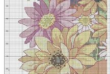 Cross Stitch cushion flower patterns