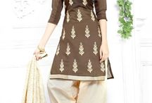 #Andaazfashion presents Coffee Cotton Patiala Suit With Embroidered Dupatta