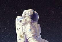 Galaxy,  Moon, Astronaut