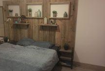 Bed wand steigerhout , headboard bed  eigen maak