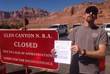 Government Shutdown at Grand Canyon / On the morning of Oct1, 2013 a group of private river runners outfitted by Ceiba Adventures headed to Lee's Ferry hoping for a once in a lifetime river trip.  They got there to find the road to the river blockaded and were soon joined by more river runners who are permited and have paid the Park Service.