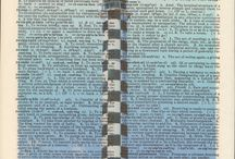Lighthouses Vintage Upcycle Art Print / Lighthouses of the world printed on vintage dictionary pages / by Alan Broz