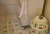 tapetes de barbante p cozinha com pano de prato
