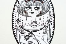 Coquette / ink illustrations, pigma micron on paper, 2015