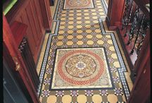 Victorian Floor Tiles - Hand Decorated, Individual Tiles and Skirting Tiles / Magnificent hand decorated Panels and Centrepieces, Individual tiles, Corners, Borders and Skirting Tiles.
