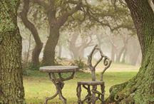 Faux Bois / Tables chairs garden furniture handmade from concrete