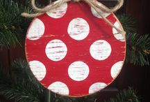 Wooden painted baubles
