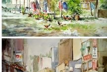 풍경수채  landscape paintings
