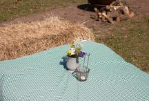 Barn wedding Hay bale seating